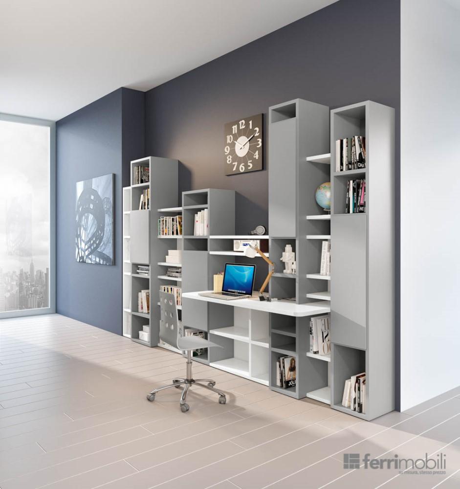 Libreria grigia a parete