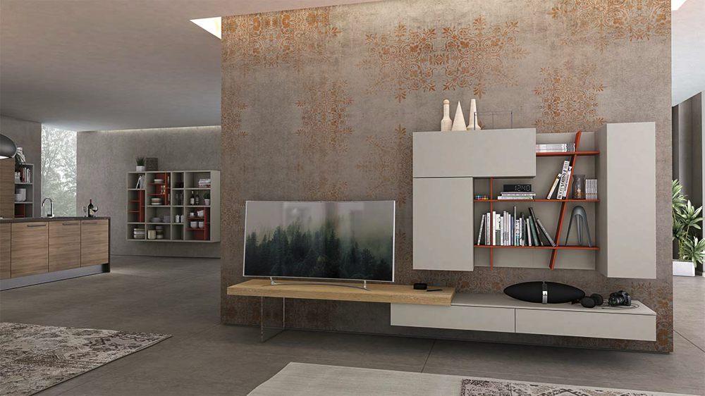 Parete TV moderna grigio rossa