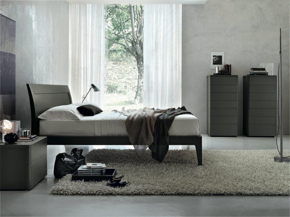 letto-legno-scuro-moderno - Arredamenti Mattio