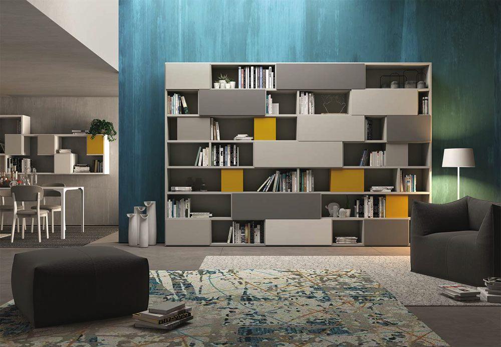 Libreria moderna grigio gialla