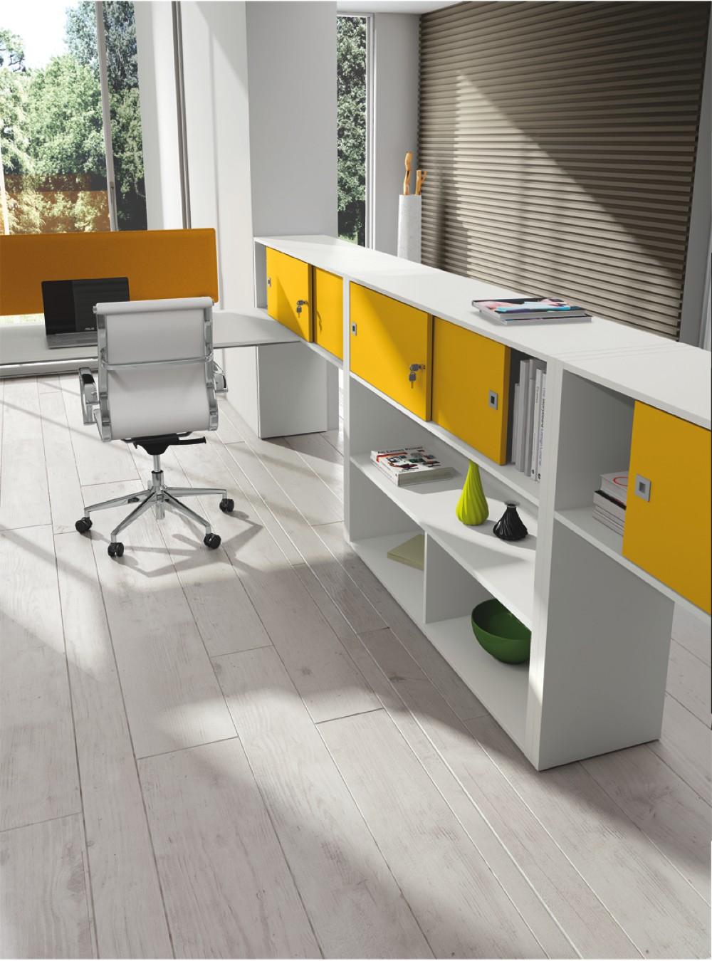 Mobile angolare bianco e giallo di contenimento per ufficio