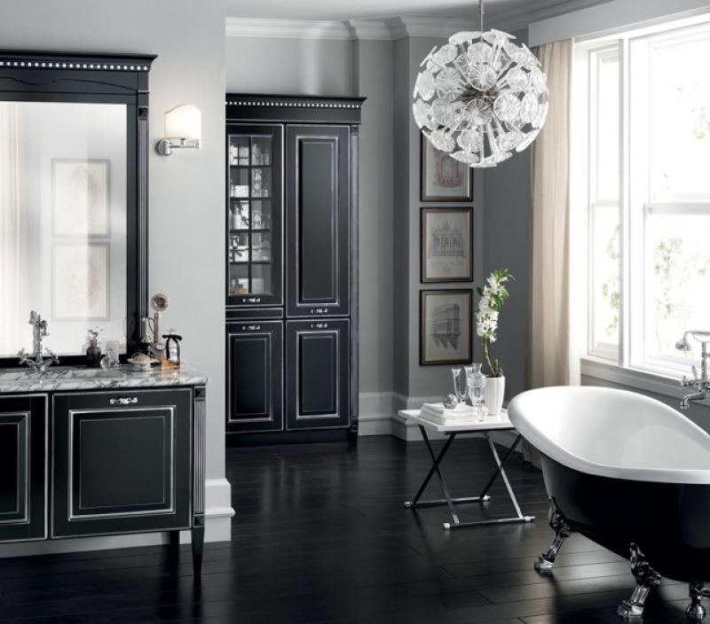Bagno classico Scavolini scuro in marmo