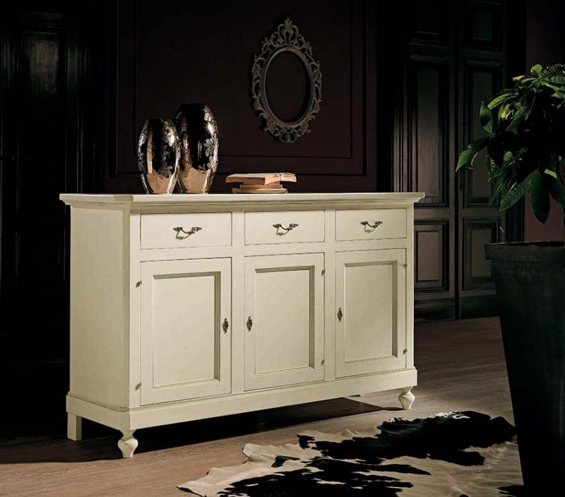 Credenza classica bianca in legno