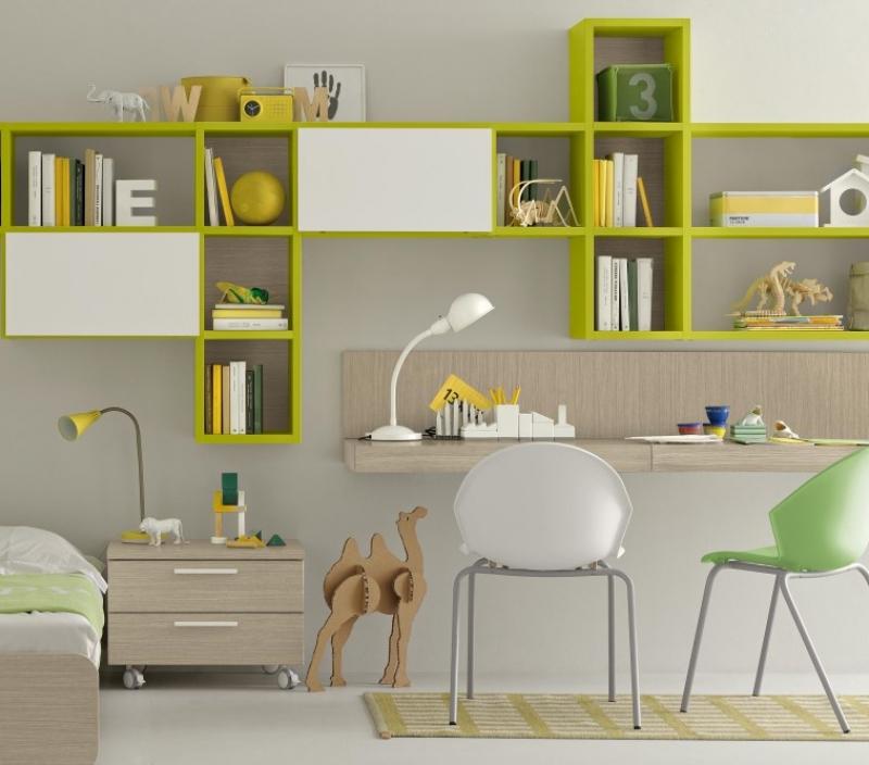 Libreria con scrivania per bambini e ragazzi