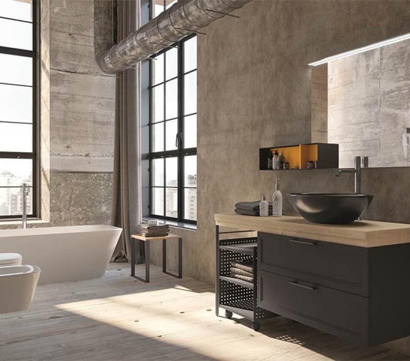 Bagno moderno scuro stile industriale