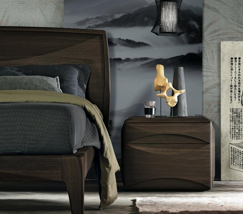 Letto di design in legno scuro