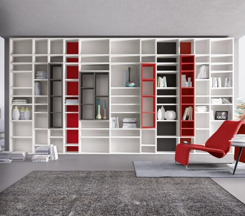 Libreria moderna bianca e rossa da soggiorno