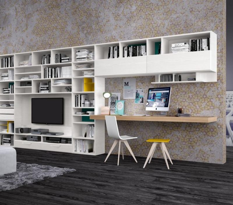Libreria in rovere bianco moderna per camera e soggiorno