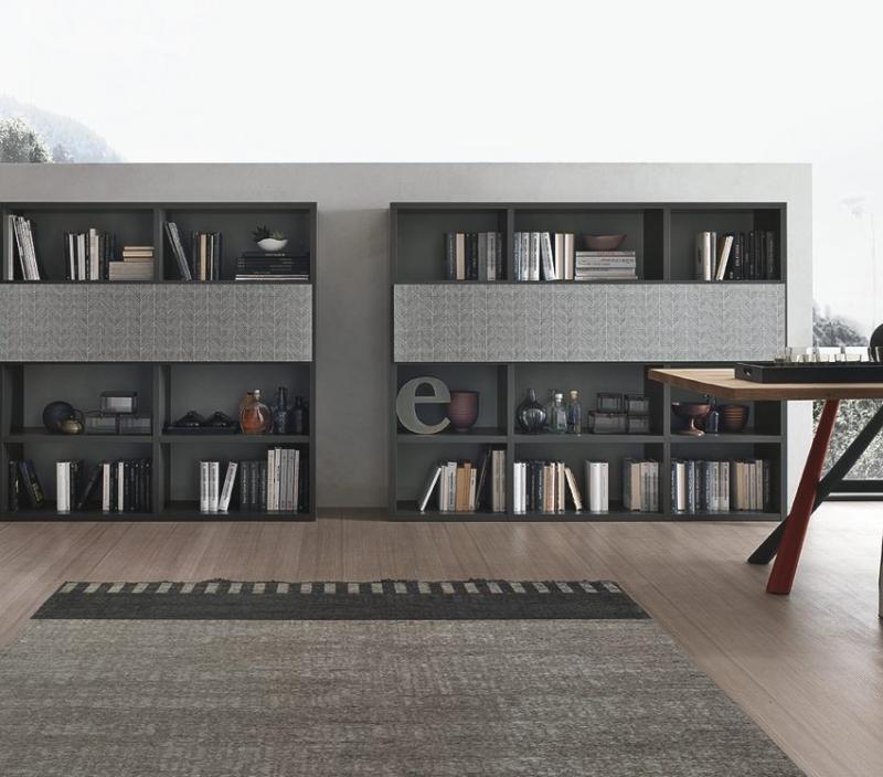Libreria moderna grigia