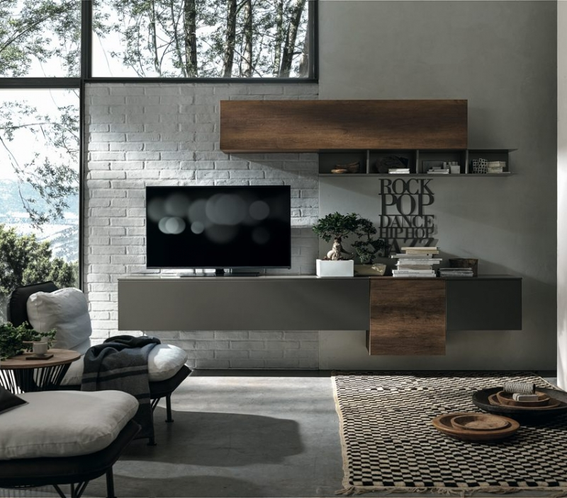 Parete TV legno scuro